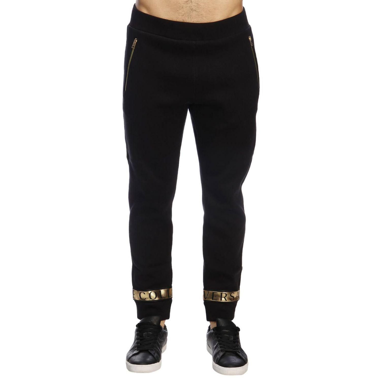 Pantalone Versace Collection in stile jogging con bande logate e laminate nero 1