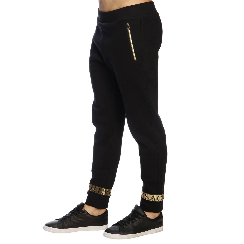 Pantalone Versace Collection in stile jogging con bande logate e laminate nero 2