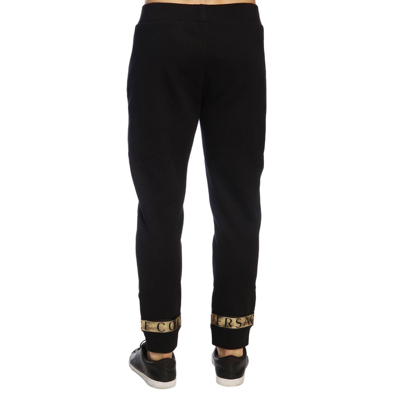 Pantalone Versace Collection in stile jogging con bande logate e laminate nero 3