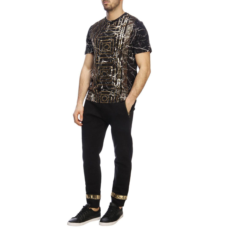 Pantalone Versace Collection in stile jogging con bande logate e laminate nero 4