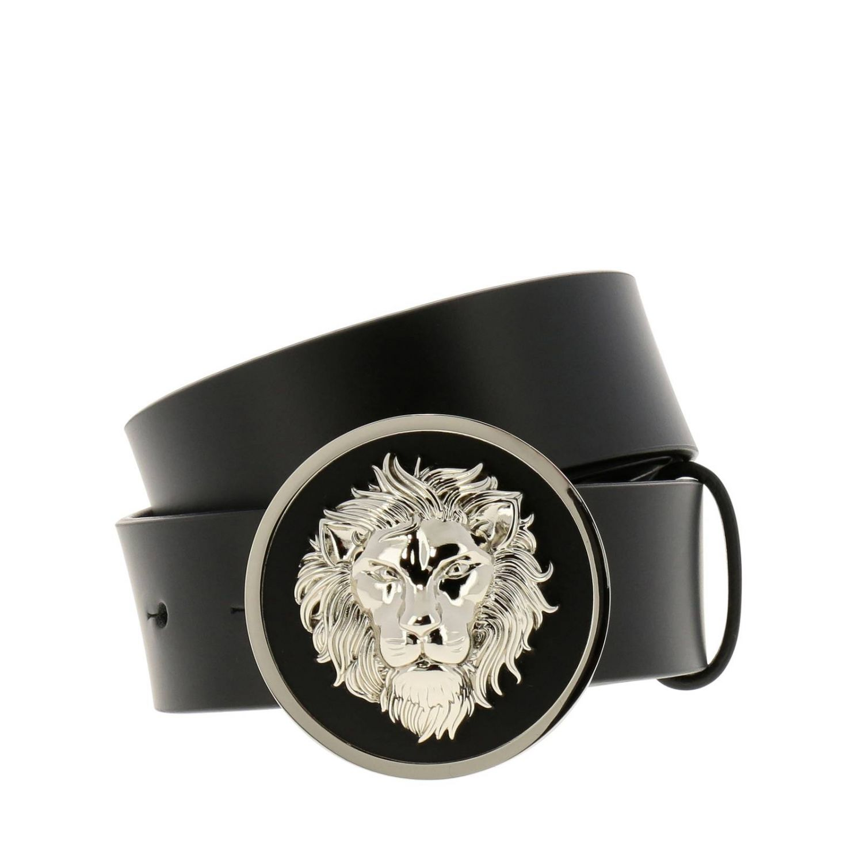 Cintura in vera pelle liscia con maxi fibbia a forma di testa di leone metallico