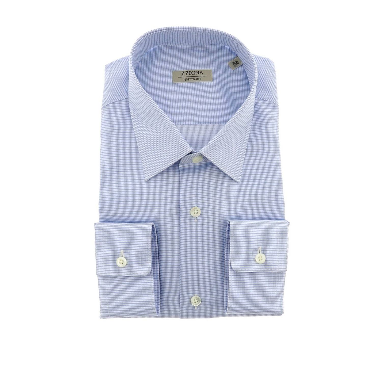 Shirt men Z Zegna gnawed blue 1