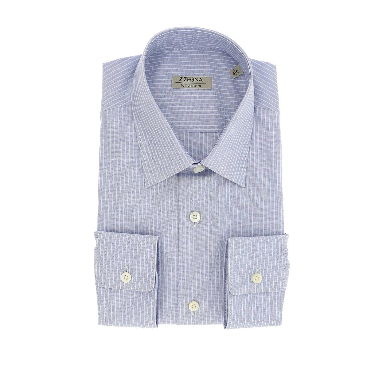 Camicia Tommaso in tessuto bacchettato con collo italiano blue 1