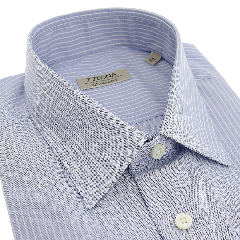 Camicia Tommaso in tessuto bacchettato con collo italiano blue 2