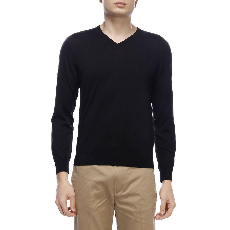Pullover con scollo a V a maniche lunghe in lana extrafine nero 1