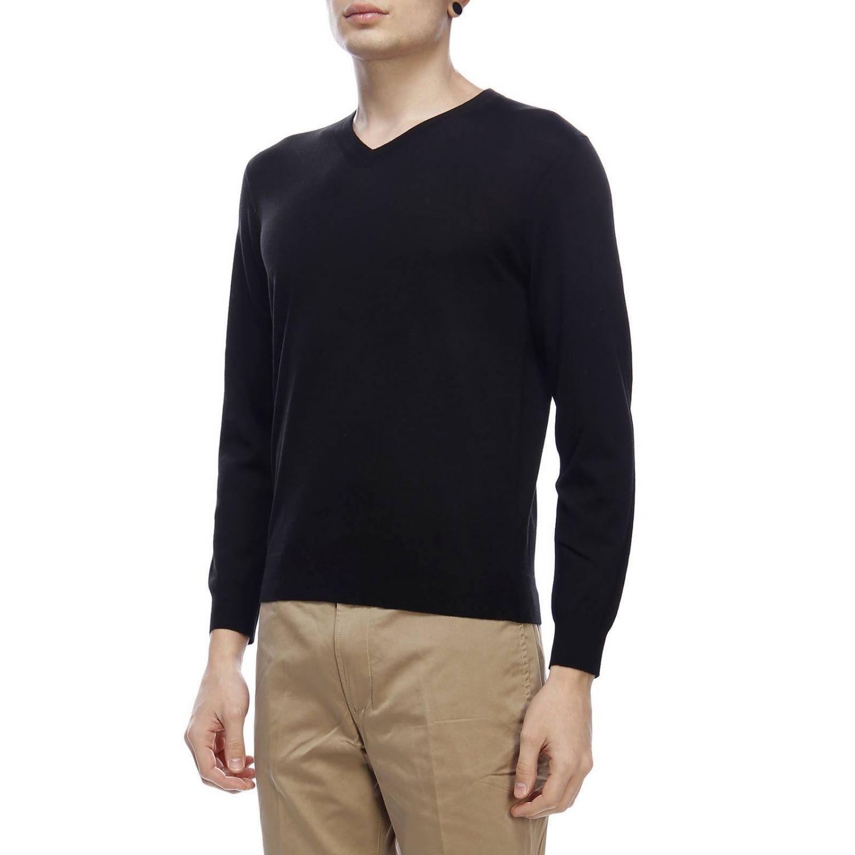 Pullover con scollo a V a maniche lunghe in lana extrafine nero 2