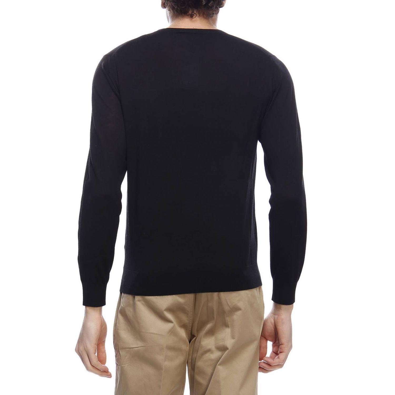 Pullover con scollo a V a maniche lunghe in lana extrafine nero 3