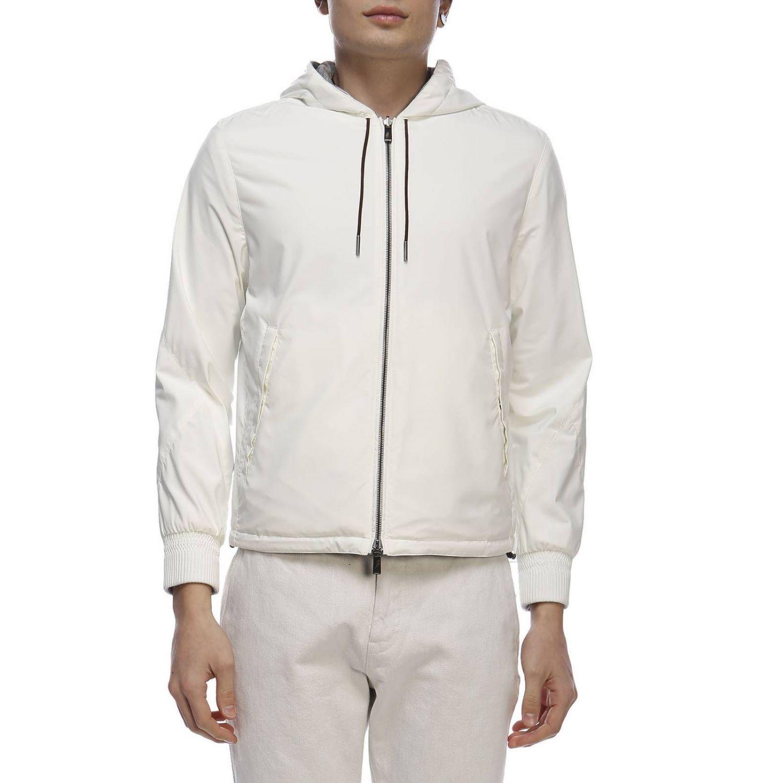 Giacca in tessuto tecnico/jersey di cachemire reversibile con zip bianco 1