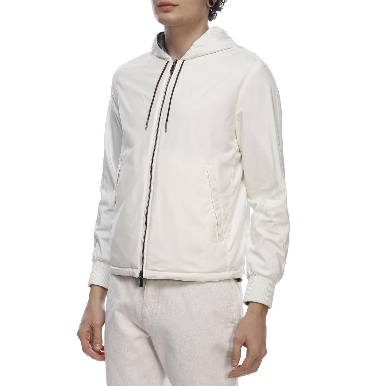 Giacca in tessuto tecnico/jersey di cachemire reversibile con zip bianco 2