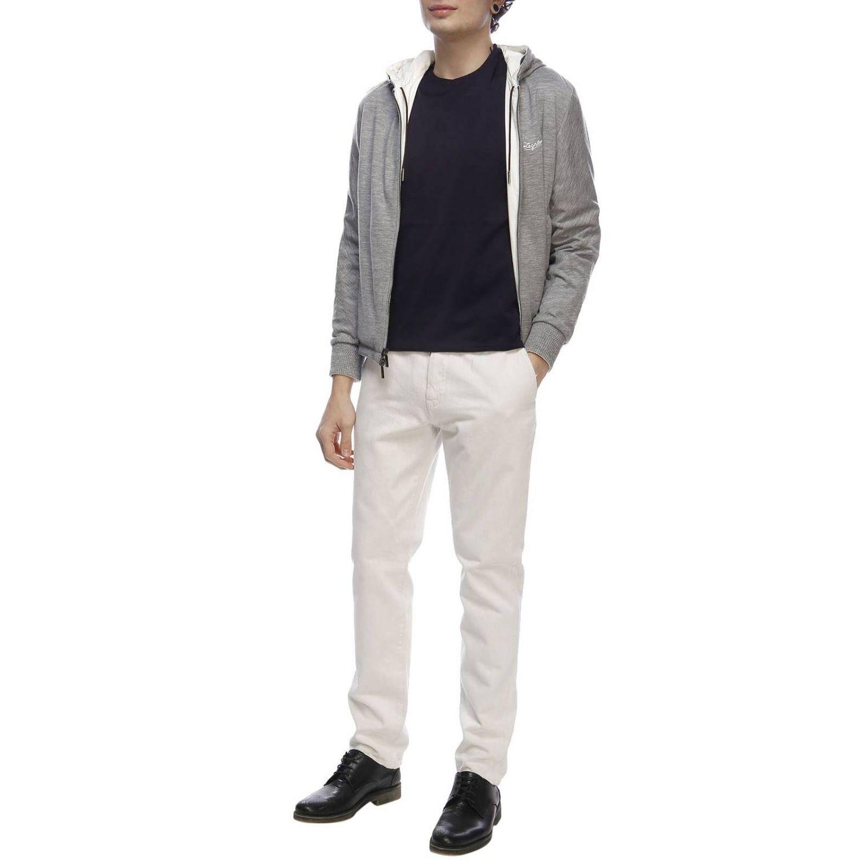 Giacca in tessuto tecnico/jersey di cachemire reversibile con zip bianco 5