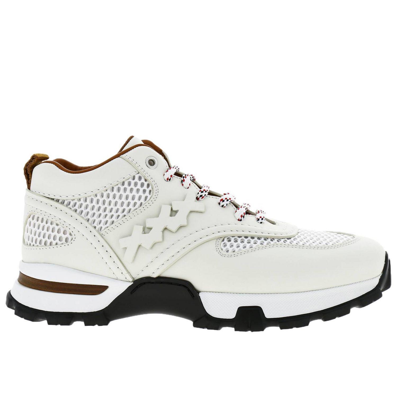 Sneakers Cesare Ermenegildo Zegna in pelle e rete con maxi suola in gomma bianco 1