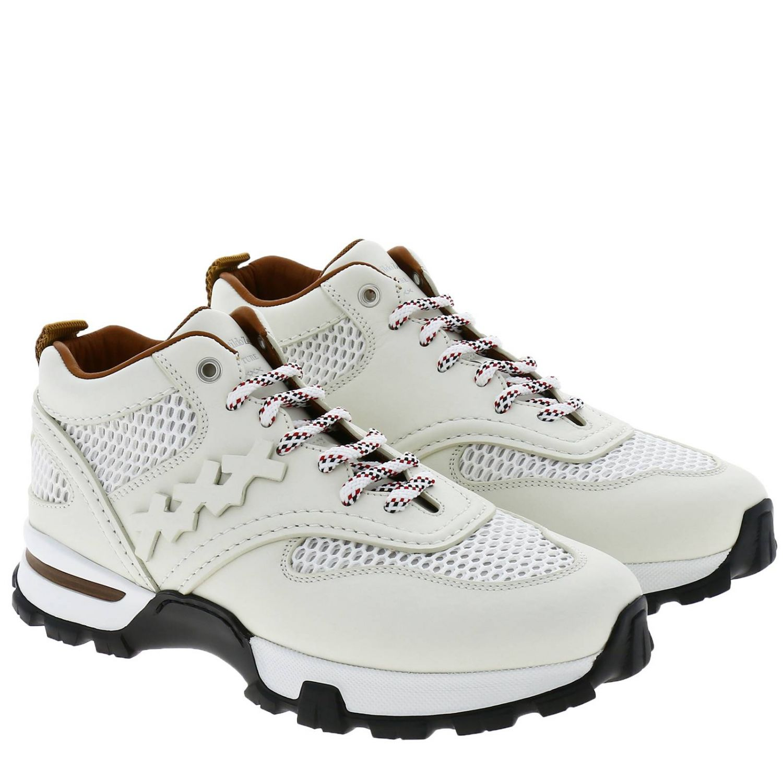 Sneakers Cesare Ermenegildo Zegna in pelle e rete con maxi suola in gomma bianco 2