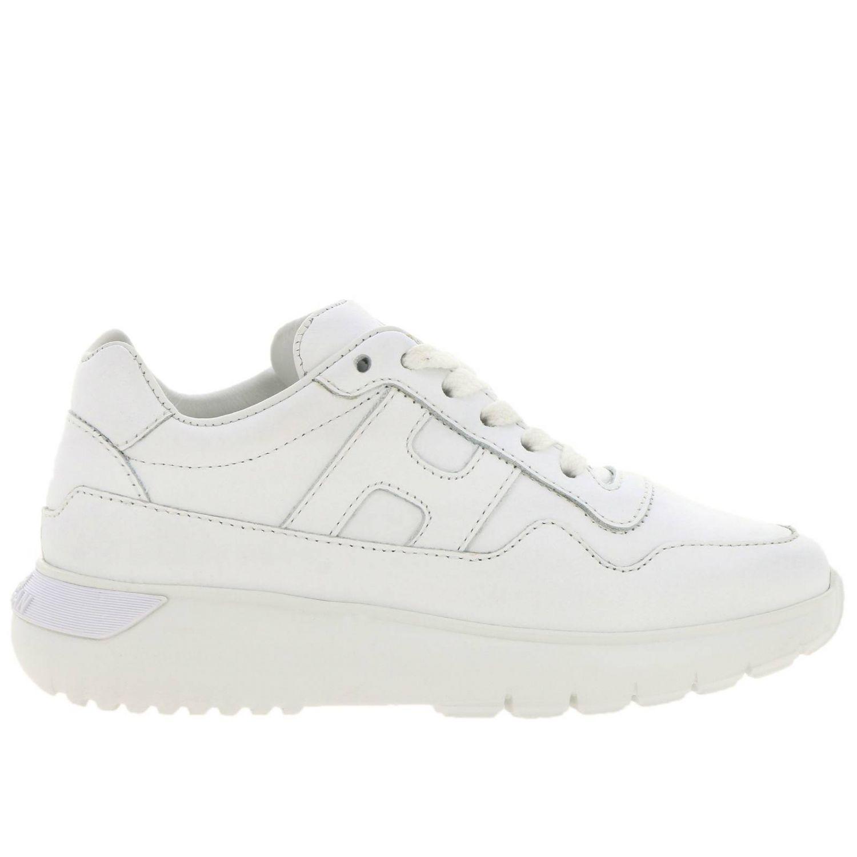Sneakers Interactive Cube Hogan in pelle liscia bianco 1