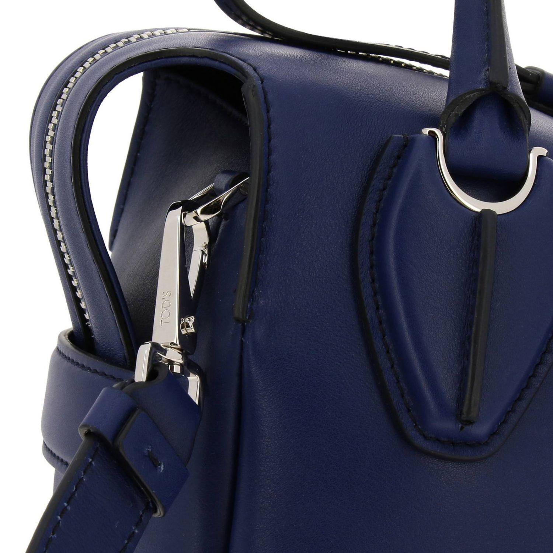 New bauletto mini in pelle liscia con macro zip e tracolla blue 4