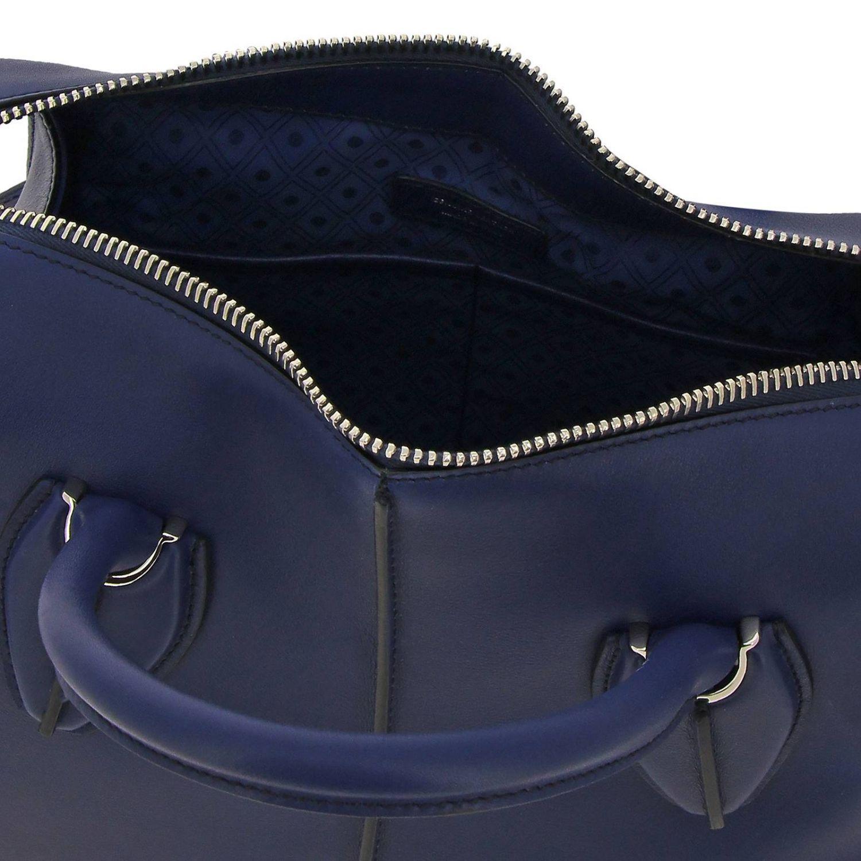 New bauletto mini in pelle liscia con macro zip e tracolla blue 5