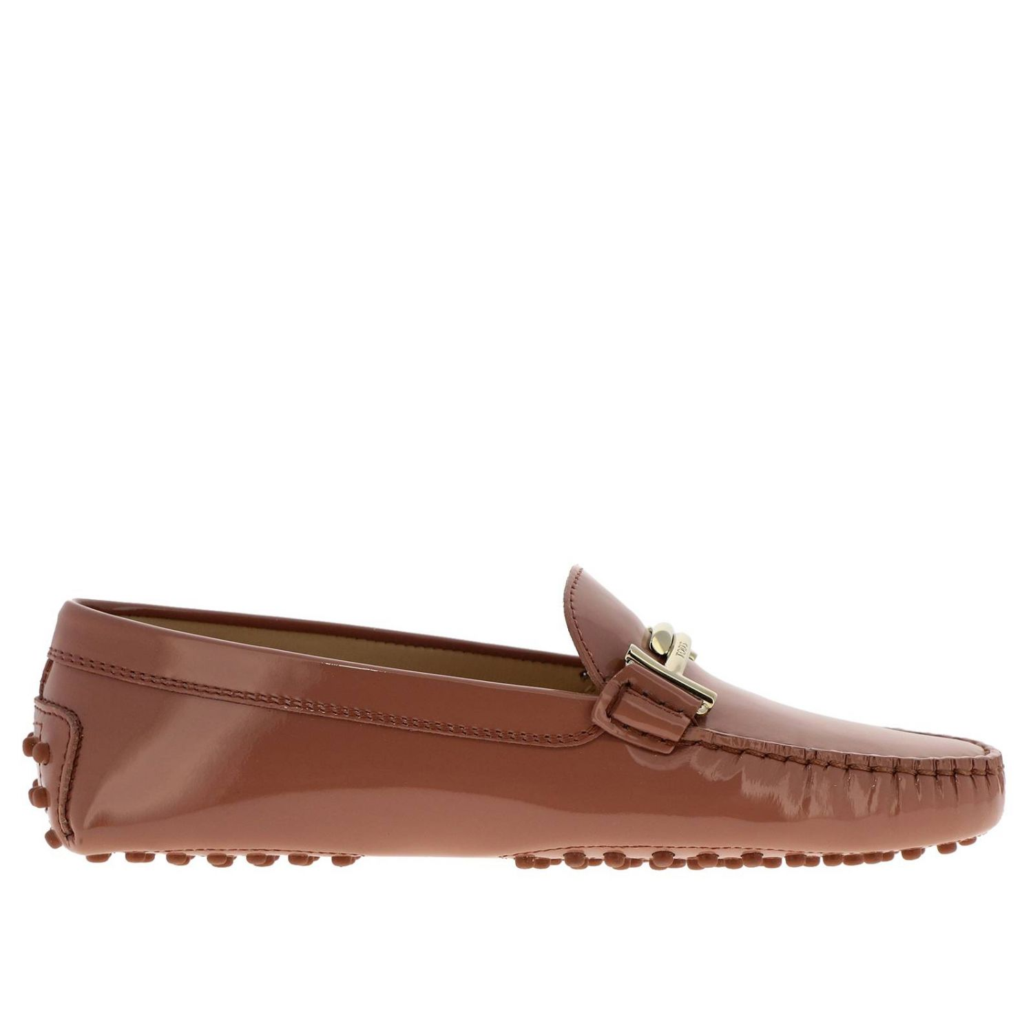 Mocassino Double T in vernice con gommini Tod's mattone 1