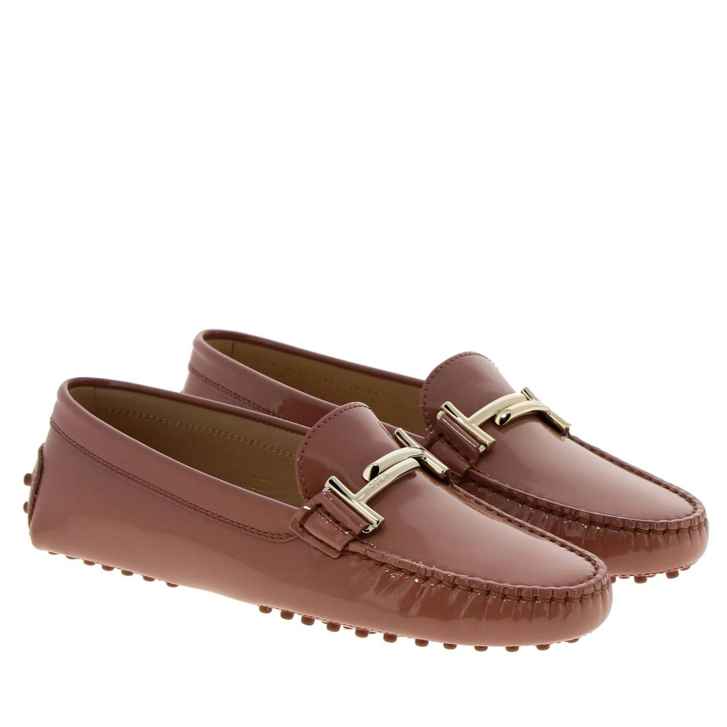 Mocassino Double T in vernice con gommini Tod's mattone 2