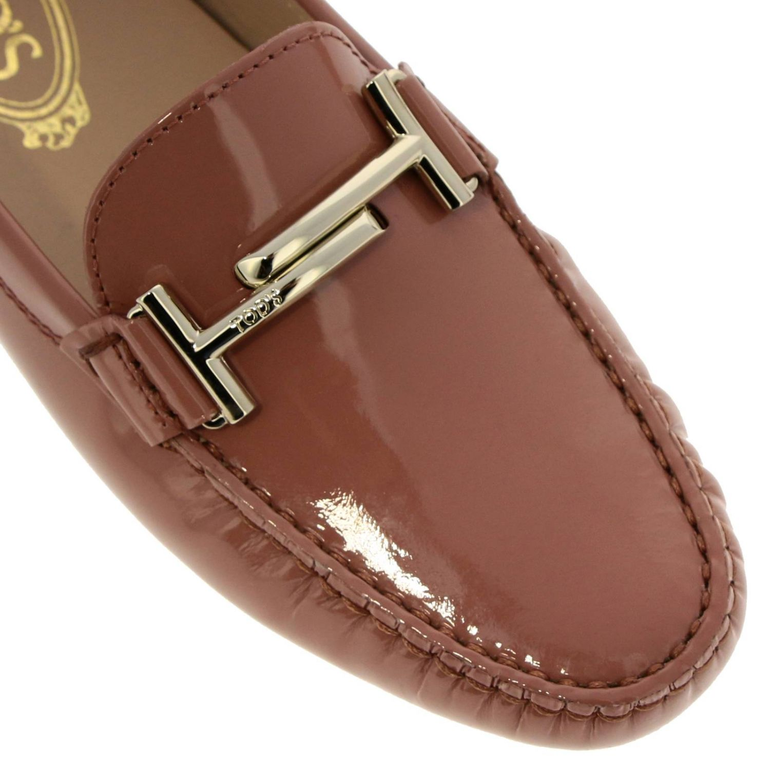 Mocassino Double T in vernice con gommini Tod's mattone 3