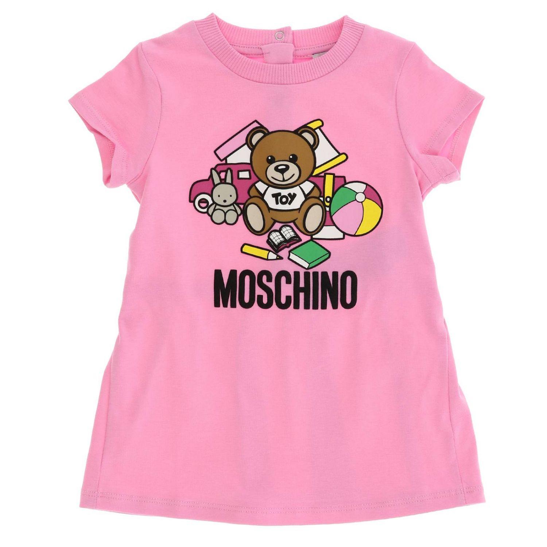 Abito a maniche corte con maxi stampa teddy by Moschino rosa 1