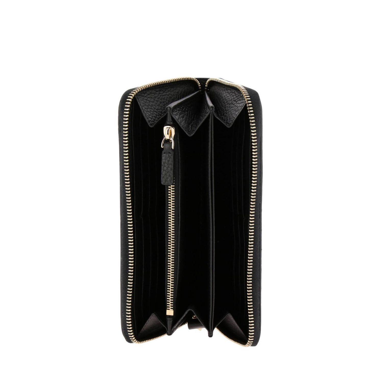 Portafoglio Rockstud continental zip around in pelle martellata con borchie metalliche nero 2