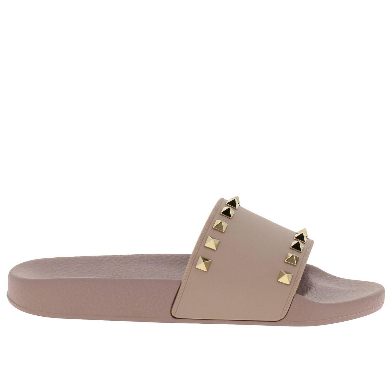 Sandalo a fascia Rockstud in gomma con maxi borchie metalliche cipria 1