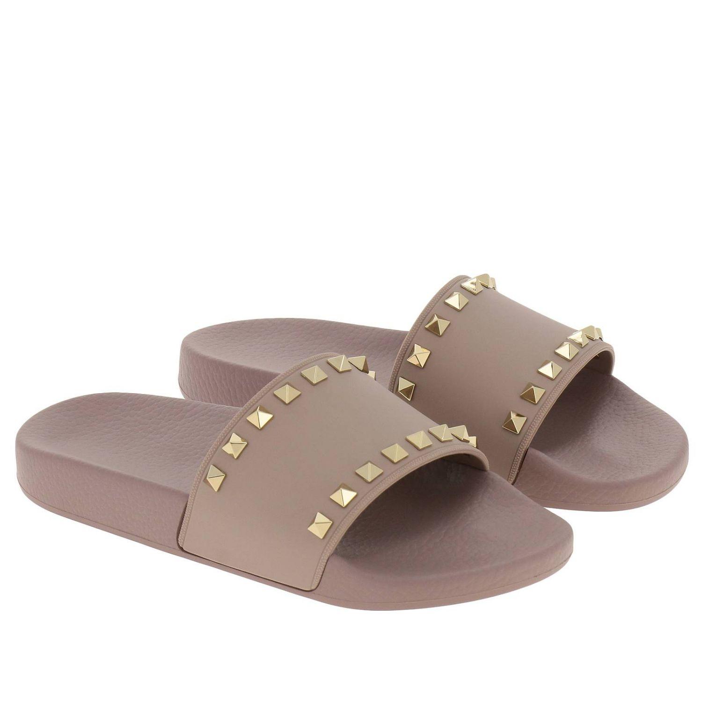 Sandalo a fascia Rockstud in gomma con maxi borchie metalliche cipria 2