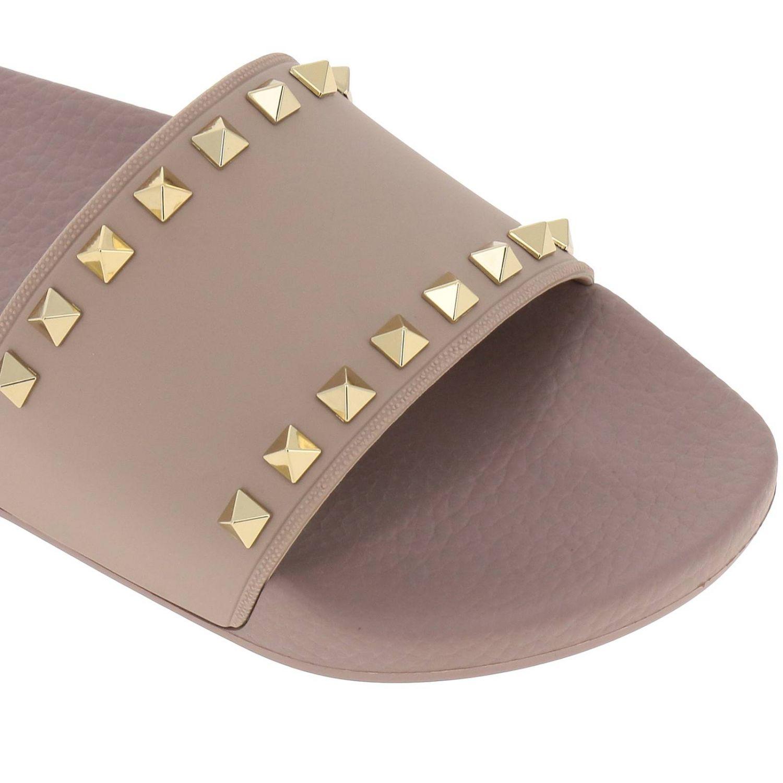 Sandalo a fascia Rockstud in gomma con maxi borchie metalliche cipria 3