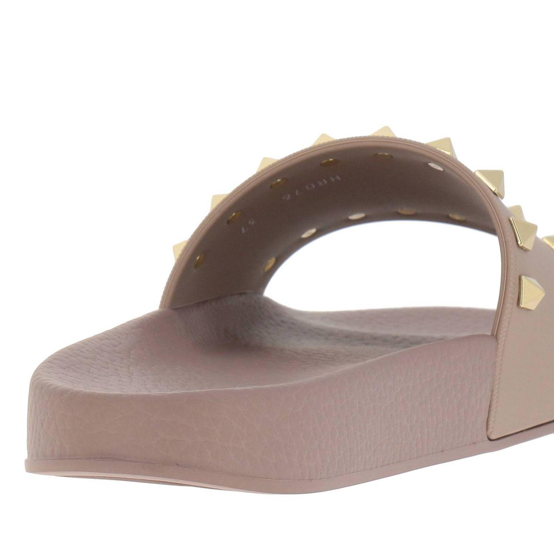 Sandalo a fascia Rockstud in gomma con maxi borchie metalliche cipria 4