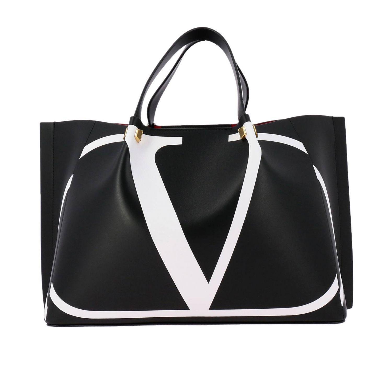 Borsa VLOGO escape shopping Valentino Garavani medium in pelle con stampa V nero 1