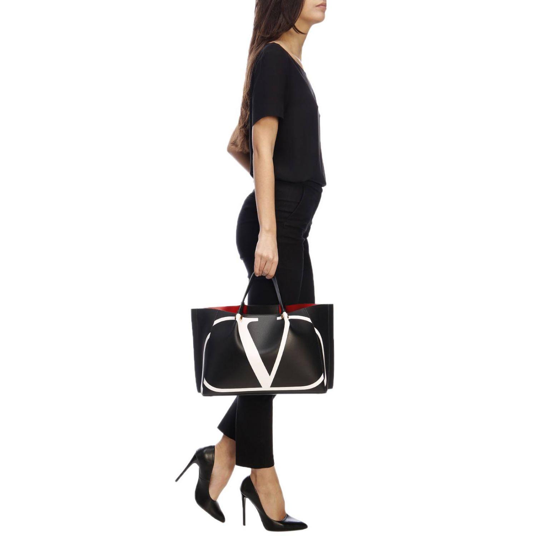 Borsa VLOGO escape shopping Valentino Garavani medium in pelle con stampa V nero 2