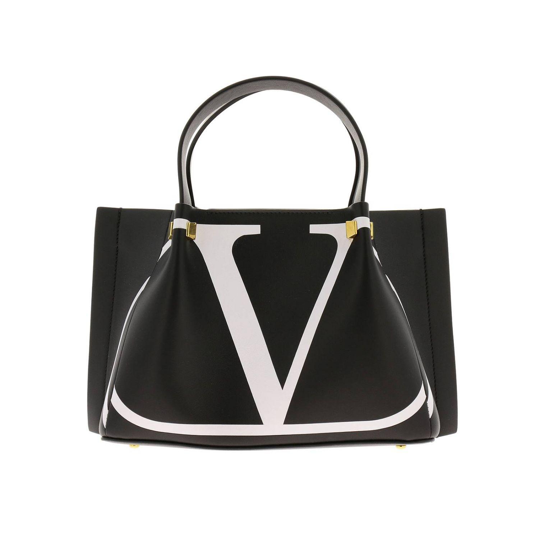 Borsa VLOGO escape shopping Valentino Garavani small in pelle con stampa V nero 1
