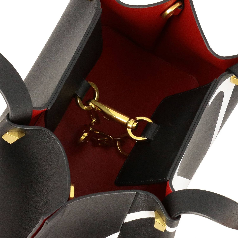 Borsa VLOGO escape shopping Valentino Garavani small in pelle con stampa V nero 5