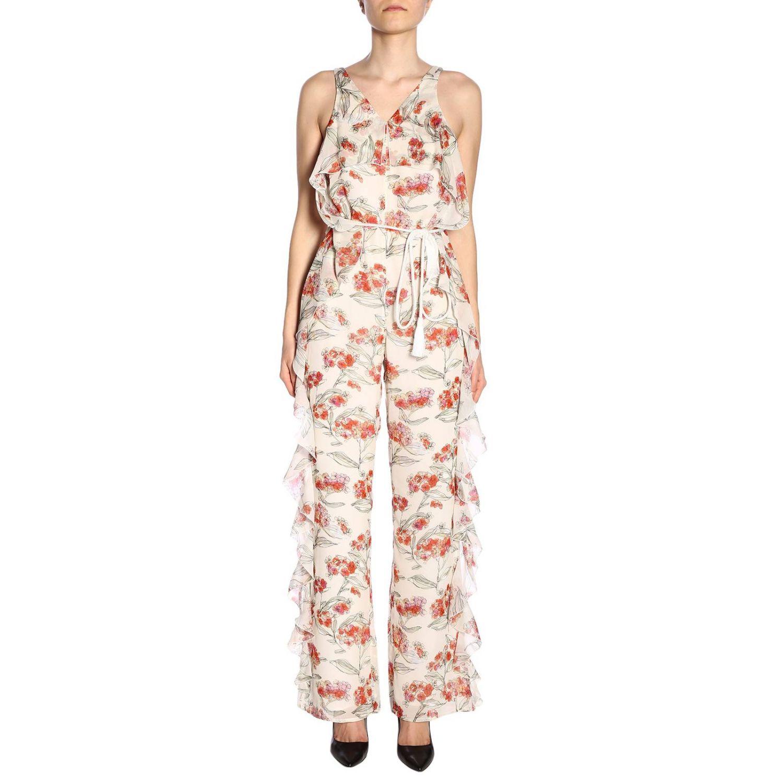 Tuta Patrizia Pepe senza maniche con rouches e fantasia floreale bianco 1