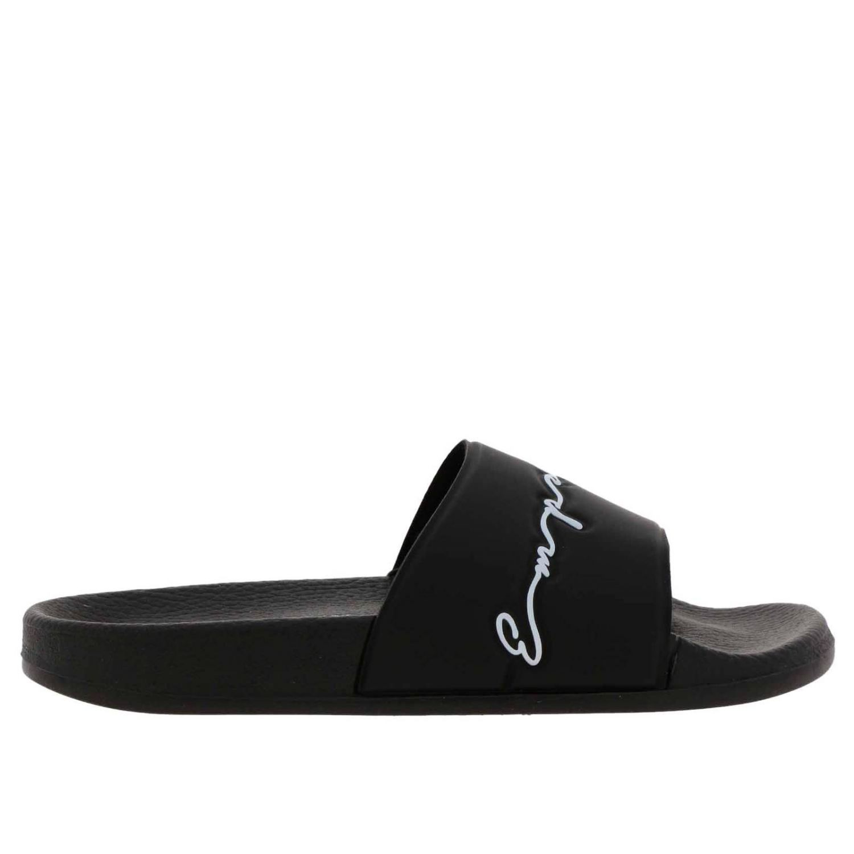 Sandali bassi Emporio Armani: Sandalo Emporio Armani a fascia in gomma con firma nero 1