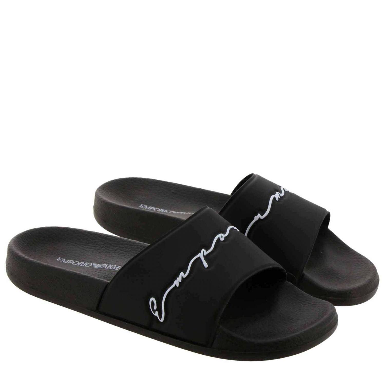 Sandali bassi Emporio Armani: Sandalo Emporio Armani a fascia in gomma con firma nero 2