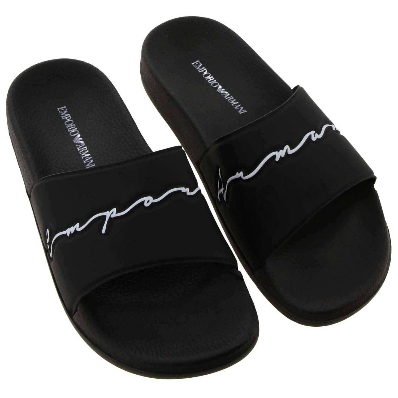 Sandali bassi Emporio Armani: Sandalo Emporio Armani a fascia in gomma con firma nero 3