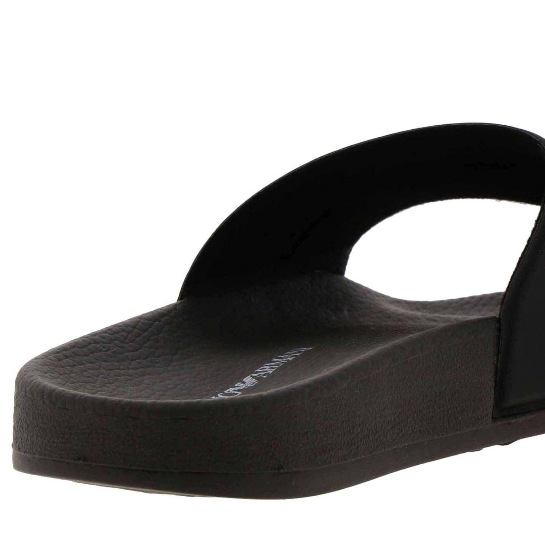 Sandali bassi Emporio Armani: Sandalo Emporio Armani a fascia in gomma con firma nero 4