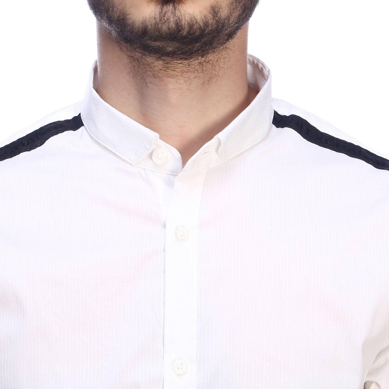 Collo piccolo micro gessato con banda contrasto bianco 4
