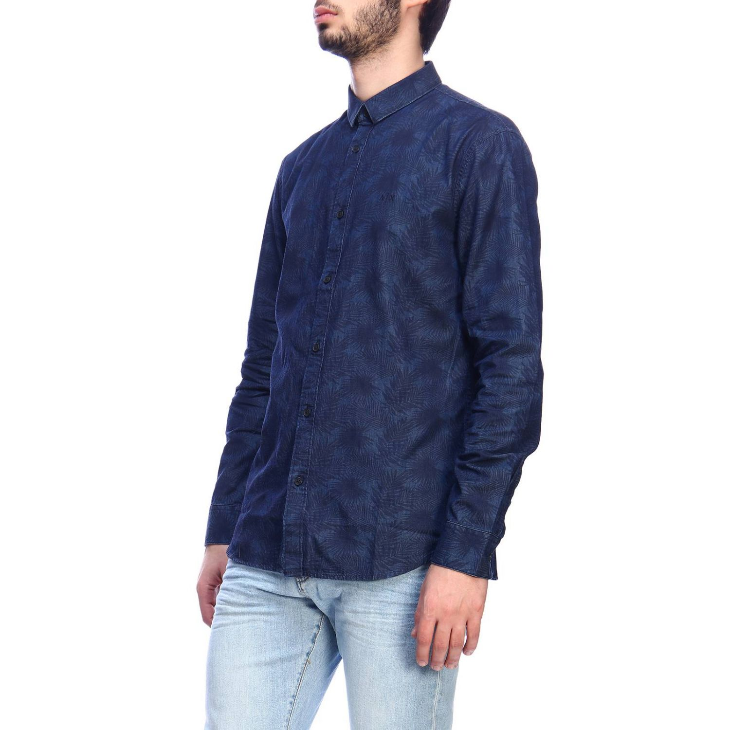 Camicia Armani Exchange in cotone con stampa di foglie e collo italiano blue 2