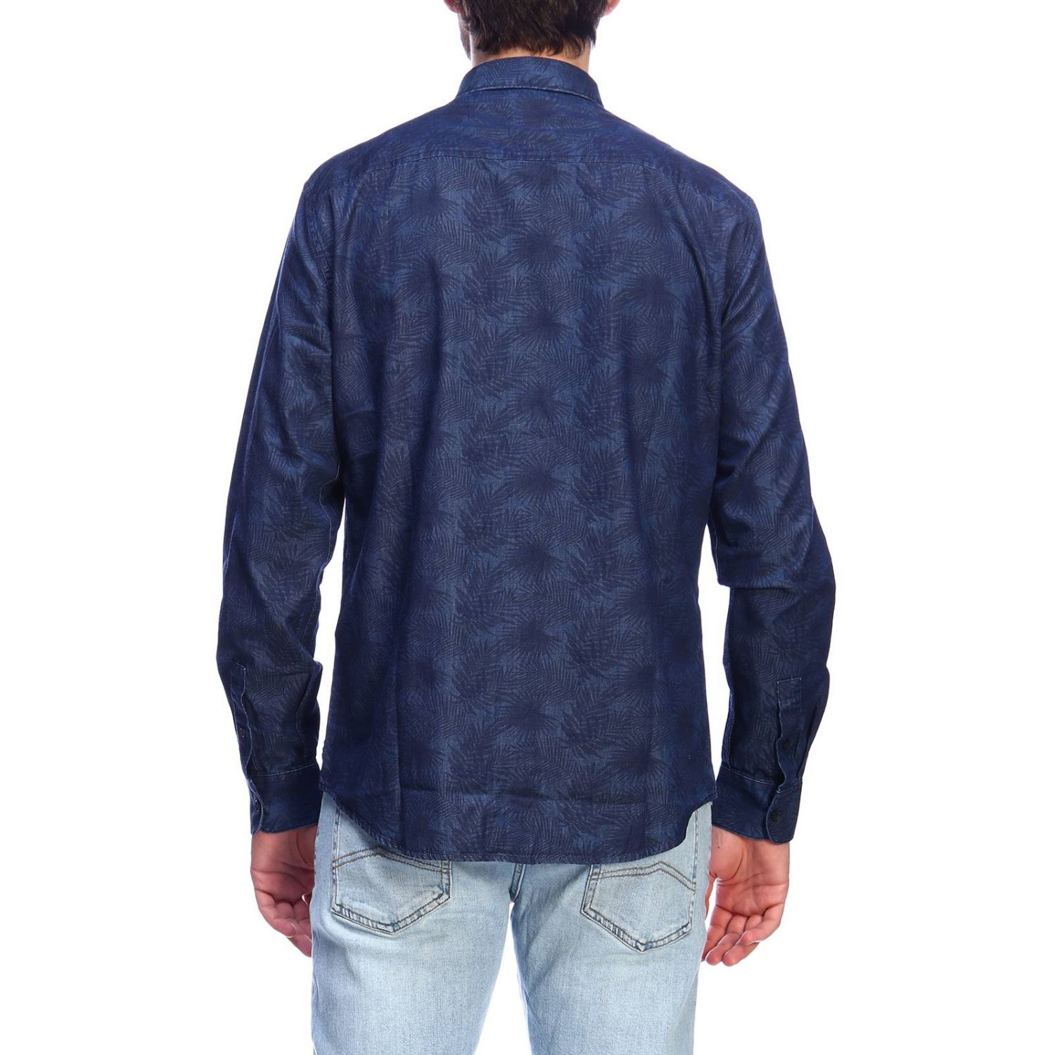 Camicia Armani Exchange in cotone con stampa di foglie e collo italiano blue 3