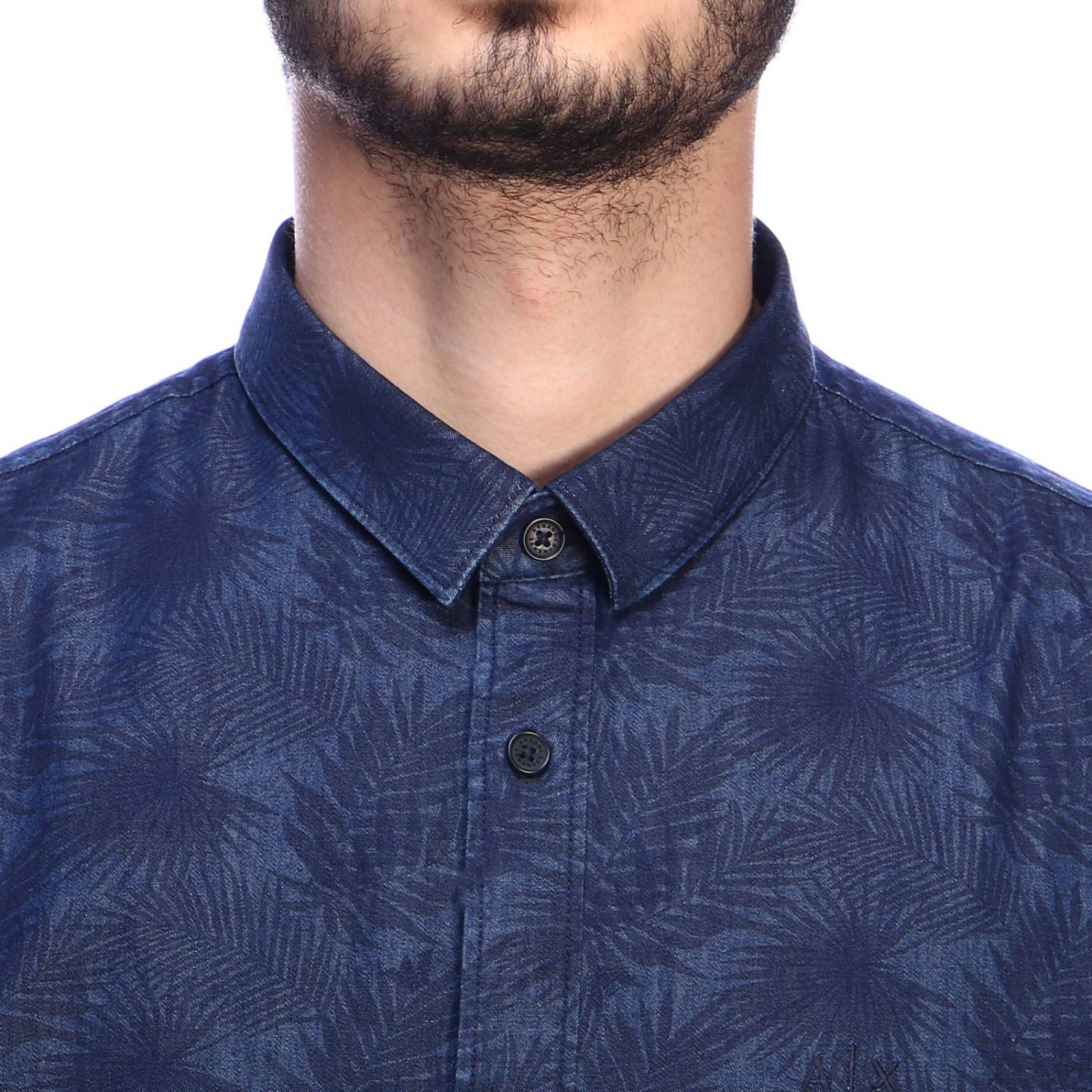 Camicia Armani Exchange in cotone con stampa di foglie e collo italiano blue 4