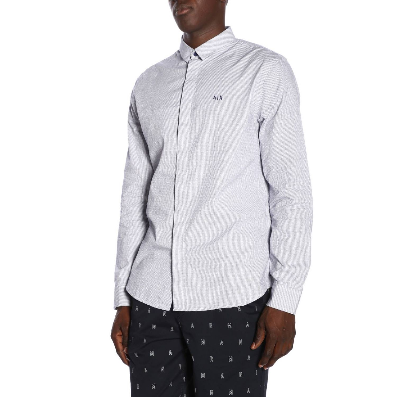 Camicia Armani Exchange in cotone gessato con collo italiano blue 2