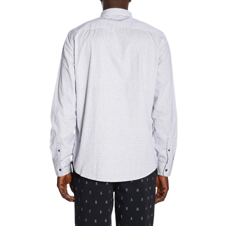 Camicia Armani Exchange in cotone gessato con collo italiano blue 3