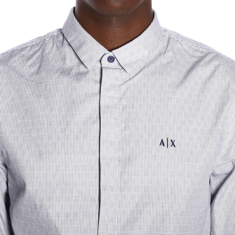 Camicia Armani Exchange in cotone gessato con collo italiano blue 4