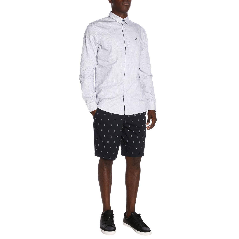 Camicia Armani Exchange in cotone gessato con collo italiano blue 5