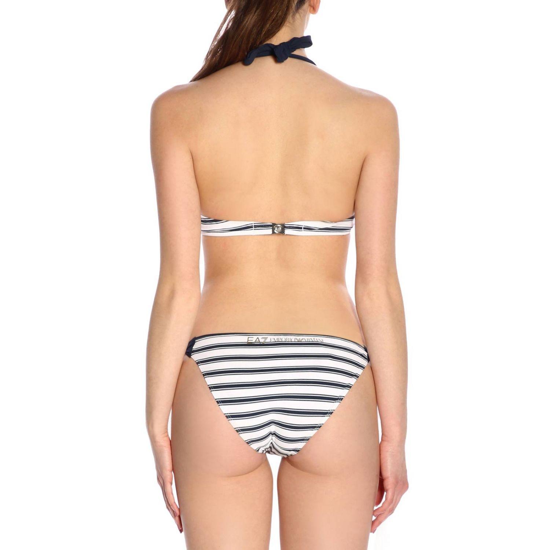 Bikini coppa con ferretto imbottita stampa righe blue 3