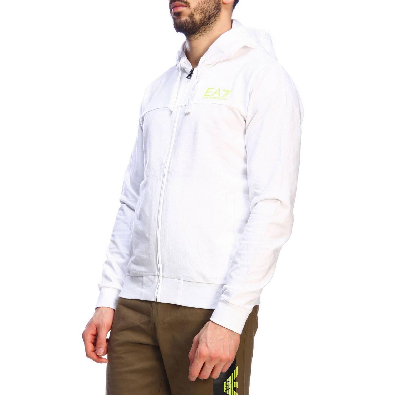 Felpa zip cappuccio con logo dietro bianco 2