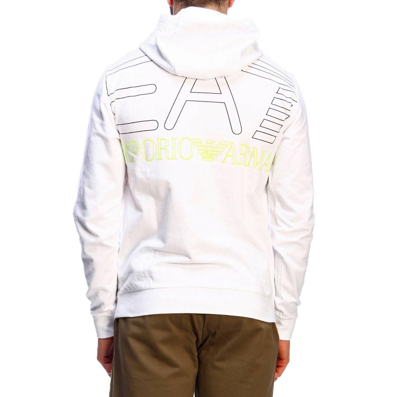 Felpa zip cappuccio con logo dietro bianco 3