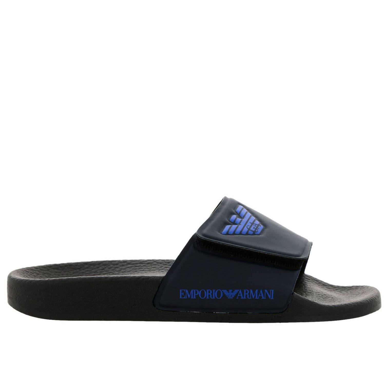Sandalo a fascia in gomma a strappo con logo Emporio Armani blue 1