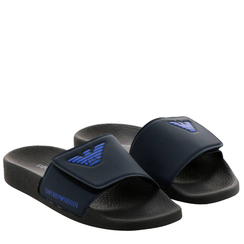 Sandalo a fascia in gomma a strappo con logo Emporio Armani blue 2